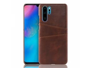 Huawei P30 Pro Leder Case Hülle für Bank & Kreditkarten braun