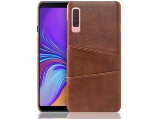 Samsung Galaxy A7 2018 Leder Case Hülle für Bank Kreditkarten braun