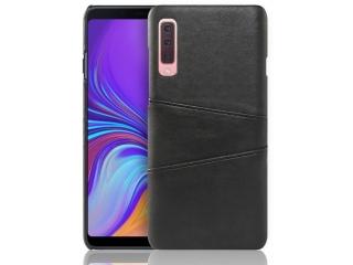 Samsung Galaxy A7 2018 Leder Case Hülle für Bank Kreditkarten schwarz