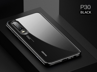 USAMS Huawei P30 Flexible TPU Hardcase Hülle transparent schwarz