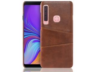 Samsung Galaxy A9 2018 Leder Case Hülle für Bank Kreditkarten braun