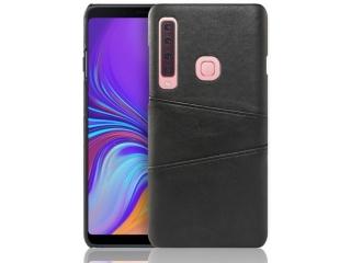 Samsung Galaxy A9 2018 Leder Case Hülle für Bank Kreditkarten schwarz
