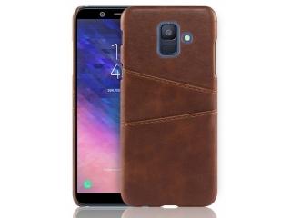 Samsung Galaxy A6 2018 Leder Case Hülle für Bank Kreditkarten braun