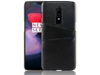 OnePlus 6T Leder Case Hülle für Bank und Kreditkarten Etui schwarz