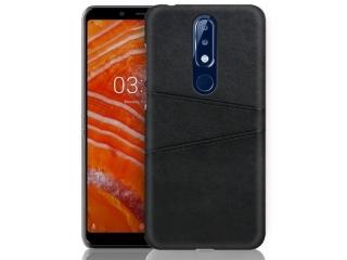 Nokia 7.1 Leder Case Hülle für Bank und Kreditkarten Etui schwarz