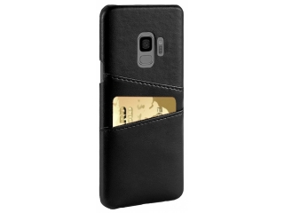 Samsung Galaxy S9 Leder Case Hülle für Bank Kreditkarten Etui schwarz