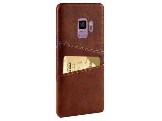 Samsung Galaxy S9 Leder Case Hülle für Bank Kreditkarten Etui braun