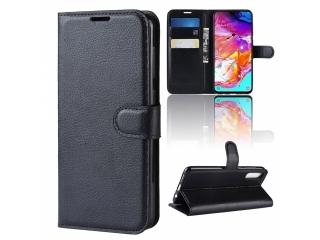Samsung Galaxy A70 Leder Hülle Portemonnaie Karten Ledertasche schwarz