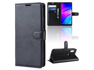 Xiaomi Redmi 7 Leder Hülle Portemonnaie Karten Ledertasche schwarz