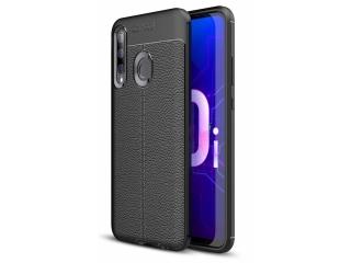 Huawei P Smart+ (2019) Leder Design Gummi Hülle TPU Case Cover schwarz