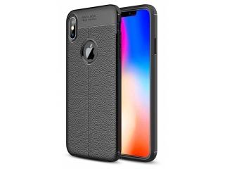 iPhone Xs Max Leder Design Gummi Hülle TPU Case Cover flexibel schwarz