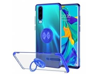 Samsung Galaxy A70 Hülle mit Ring Finger Case transparent blau