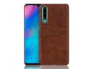 Huawei P30 Leder Case Hülle für Bank & Kreditkarten braun