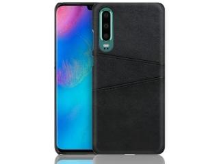 Huawei P30 Leder Case Hülle für Bank & Kreditkarten schwarz