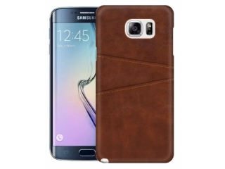 Samsung Galaxy S6 Edge Leder Case Hülle für Bank Kreditkarten braun
