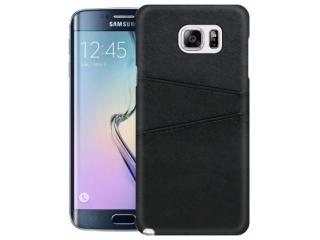 Samsung Galaxy S6 Edge Leder Case Hülle für Bank Kreditkarten schwarz