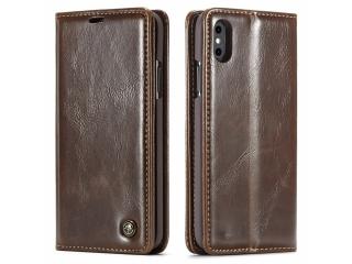 CaseMe Apple iPhone X / Xs Classic Leder Case Karten Hülle Etui braun