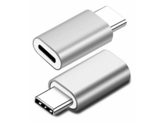 Lightning auf USB-C Adapter Konverter Stecker in silber
