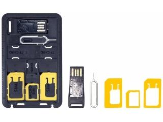 SIM Karten Travel Adapter Kit mit Opening Tool und MicroSD USB Reader
