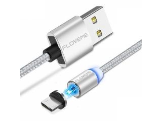Floveme Insnap Magnetisches Micro USB Ladekabel aus Nylon 1m - silber