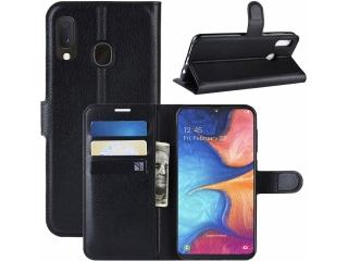 Samsung Galaxy A20e Lederhülle Portemonnaie Karten Ledertasche schwarz