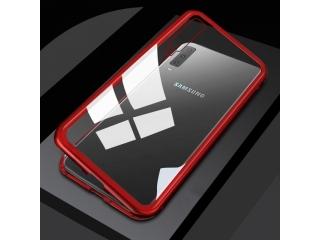 Samsung Galaxy A50 Magnetische Alu Schutzhülle Glas Rückseite rot