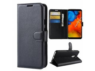 LG Q Stylus Leder Hülle Portemonnaie Karten Ledertasche schwarz