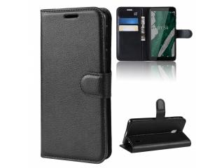 Nokia 1 Plus Leder Hülle Portemonnaie Karten Ledertasche schwarz