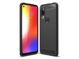 Moto One Vision Carbon Gummi Hülle TPU Case Cover flexibel schwarz