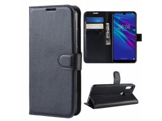 Huawei Y6 2019 Leder Hülle Portemonnaie Karten Ledertasche schwarz