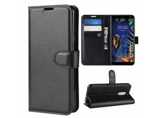 LG K40 Leder Hülle Portemonnaie Karten Ledertasche Flip Case schwarz
