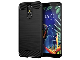 LG K40 Carbon Gummi Hülle TPU Case Cover flexibel schwarz
