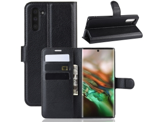 Ledertasche Samsung Note 10 Portemonnaie Karten Schutzhülle schwarz