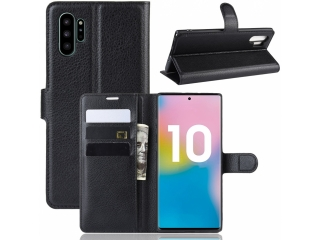 Samsung Note 10+ Leder Hülle Portemonnaie Karten Ledertasche schwarz