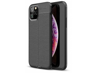iPhone 11 Pro Leder Design Gummi Hülle TPU Thin Case flexibel schwarz
