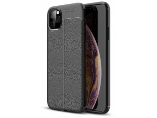 iPhone 11 Pro Max Leder Design Gummi Hülle TPU Case flexibel schwarz