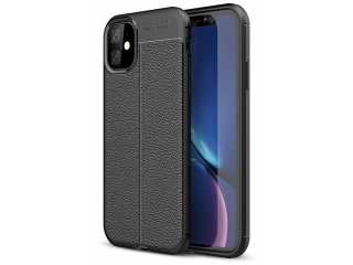 iPhone 11 Leder Design Gummi Hülle TPU Thin Case flexibel schwarz