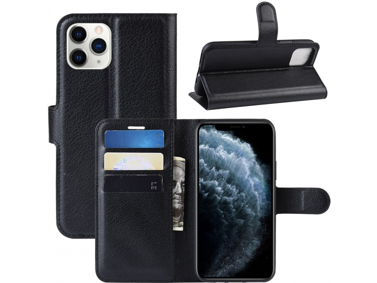 Iphone 11 Pro Leder Hülle Portemonnaie Karten Ledertasche Schwarz