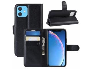 iPhone 11 Leder Hülle Portemonnaie Karten Ledertasche schwarz