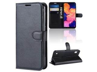 Samsung Galaxy A10 Leder Hülle Portemonnaie Karten Ledertasche schwarz