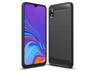 Samsung Galaxy A10 Carbon Gummi Hülle TPU Thin Case Cover schwarz