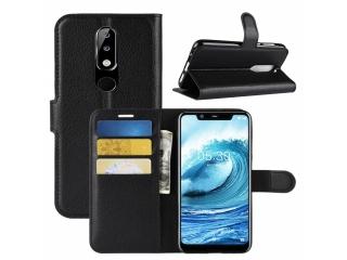 Nokia 5.1 Plus Leder Hülle Portemonnaie Karten Ledertasche schwarz