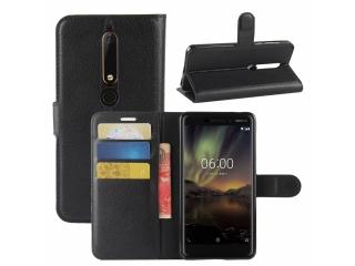Nokia 6.1 Leder Hülle Portemonnaie Karten Ledertasche schwarz