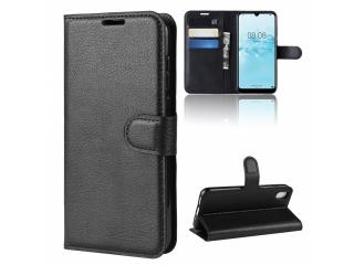 Huawei Y5 2019 Leder Hülle Portemonnaie Karten Ledertasche schwarz