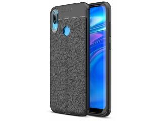 Huawei Y7 2019 Leder Design Gummi Hülle TPU Thin Case flexibel schwarz