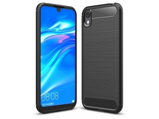 Huawei Y5 2019 Carbon Gummi Hülle TPU Thin Case Cover flexibel schwarz