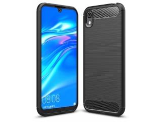Huawei Y5 2019 Carbon Gummi Hülle TPU Thin Case Cover flexibel schwarz