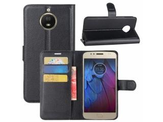 Motorola Moto G5S Leder Hülle Portemonnaie Karten Ledertasche schwarz