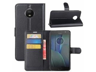 Moto G5S Plus Leder Hülle Portemonnaie Karten Ledertasche schwarz