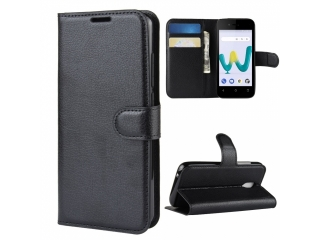 Wiko Sunny 3 Mini Leder Hülle Portemonnaie Karten Ledertasche schwarz